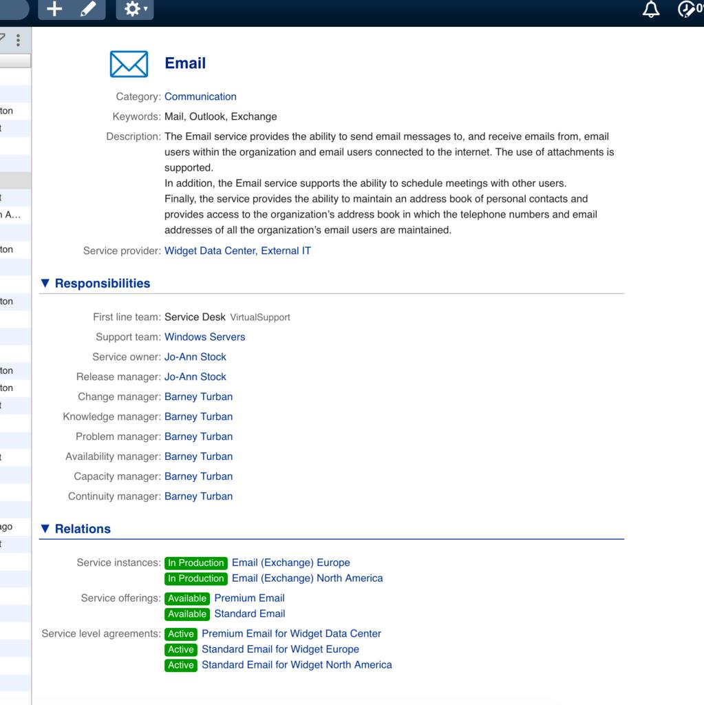 Eigenschaften eines Service in 4me