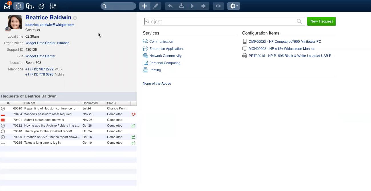 4me zeigt Ihnen alle Informationen zum Anwender auf einen Blick