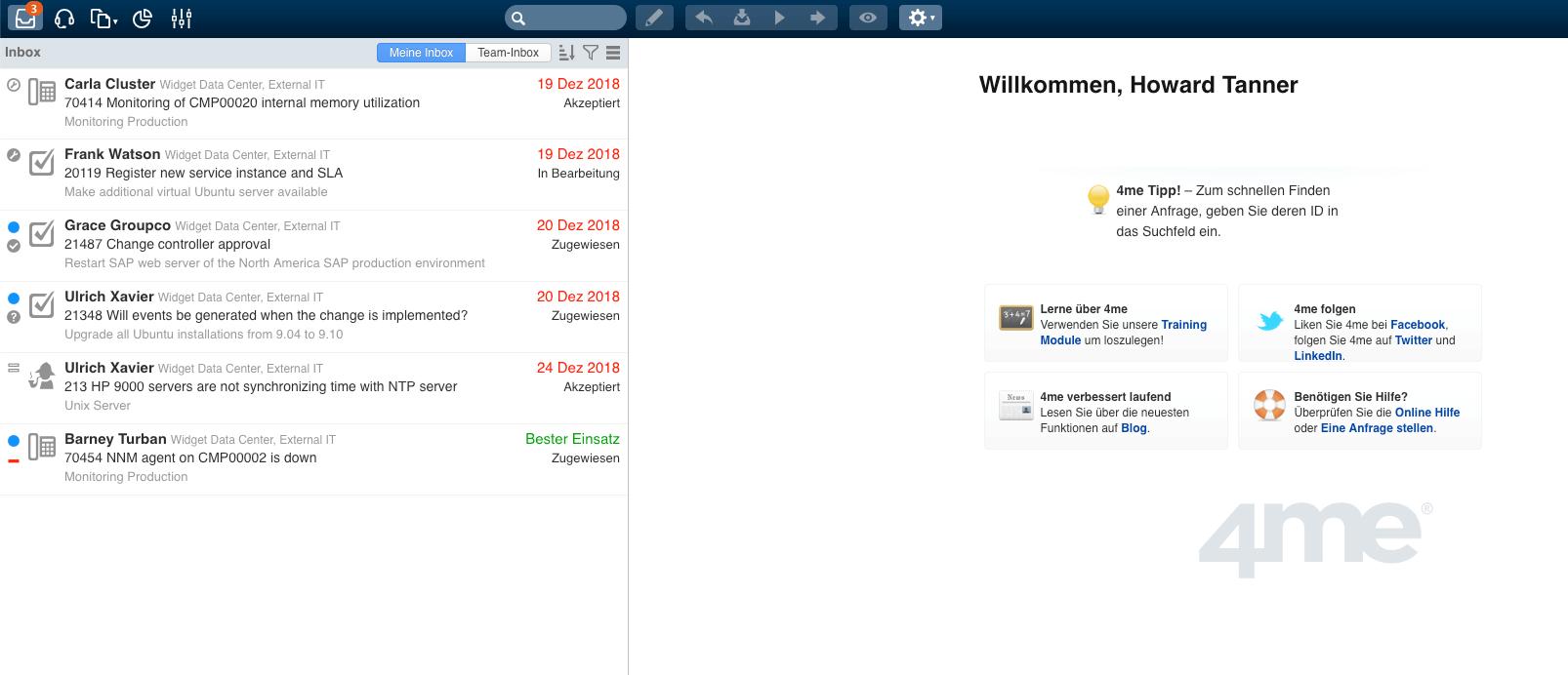 4m Service-Management Startbildschirm