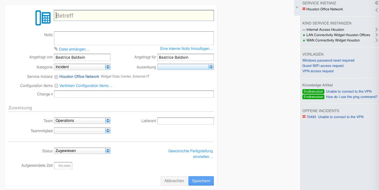 konatextabhängige Informationen während des Bearbeitens in 4me