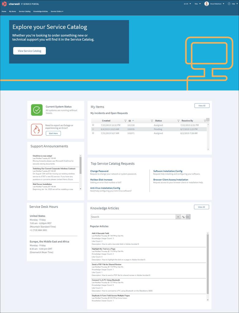 Cherwell Service Management neue OOTB Portal Seite in Version 10