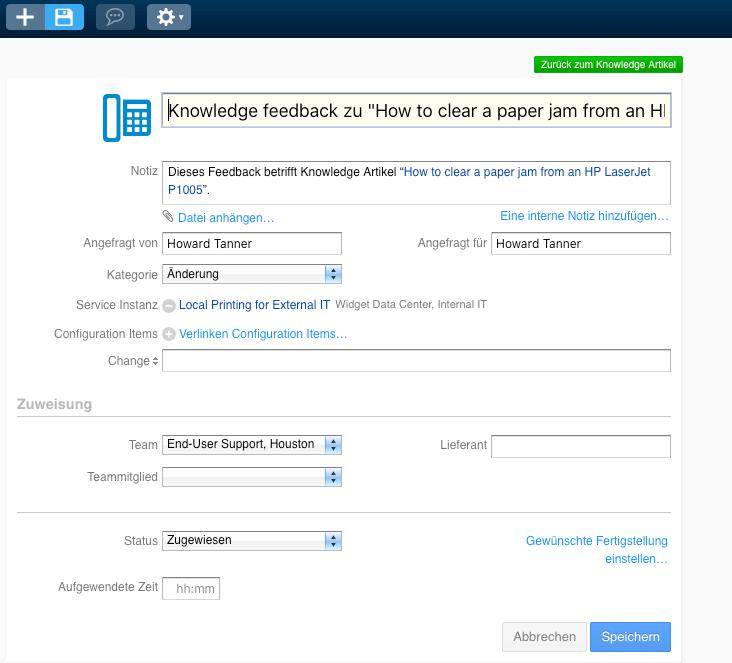 Nutzer können Feedback direkt zu einem Knowlgedebase-Eintrag geben