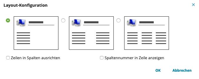 Darstellungsoptionen eines Service-Request für das Portal