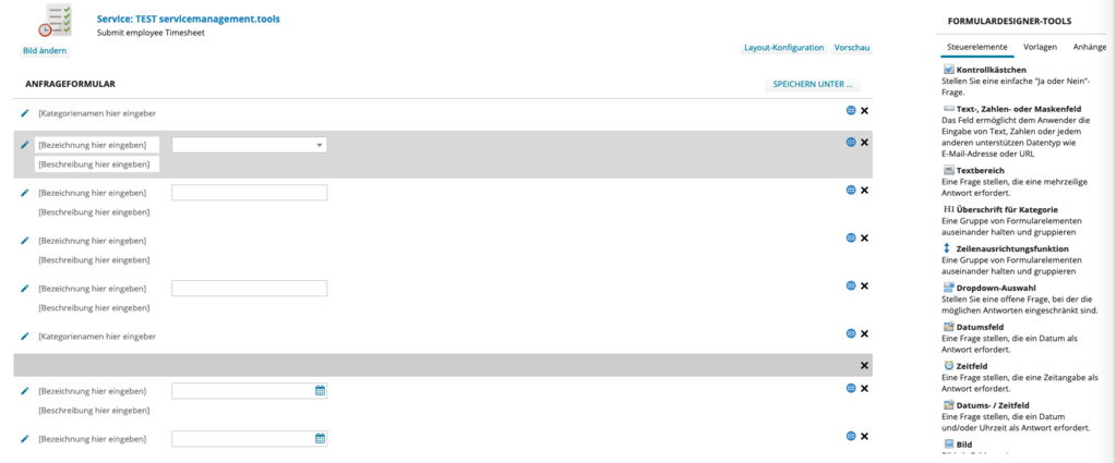 Integrierter Formlulareditor