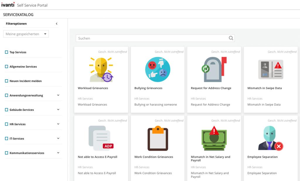 Die Startseite des Self-Service-Portals des Ivanti Service Manager