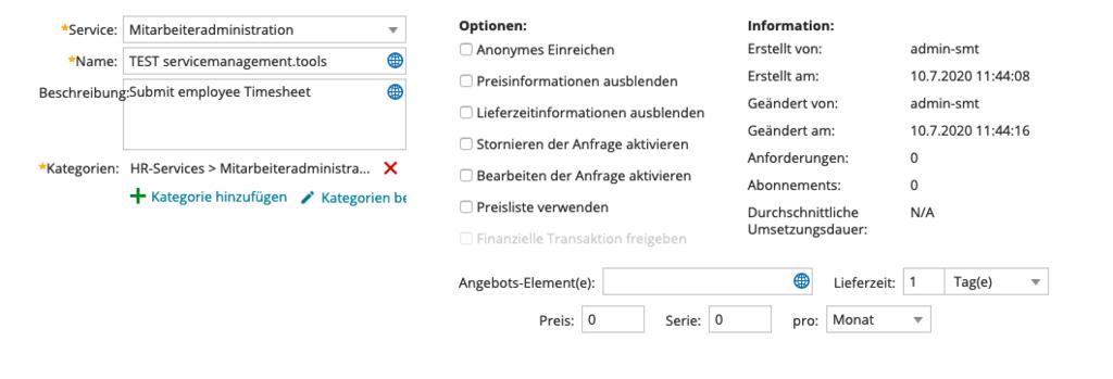 Optionen für die Definition eines Serviceangebots