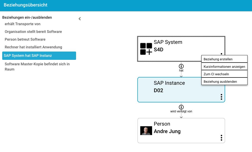 Grafische Darstellung der Beziehungen der SAP-Instanzen