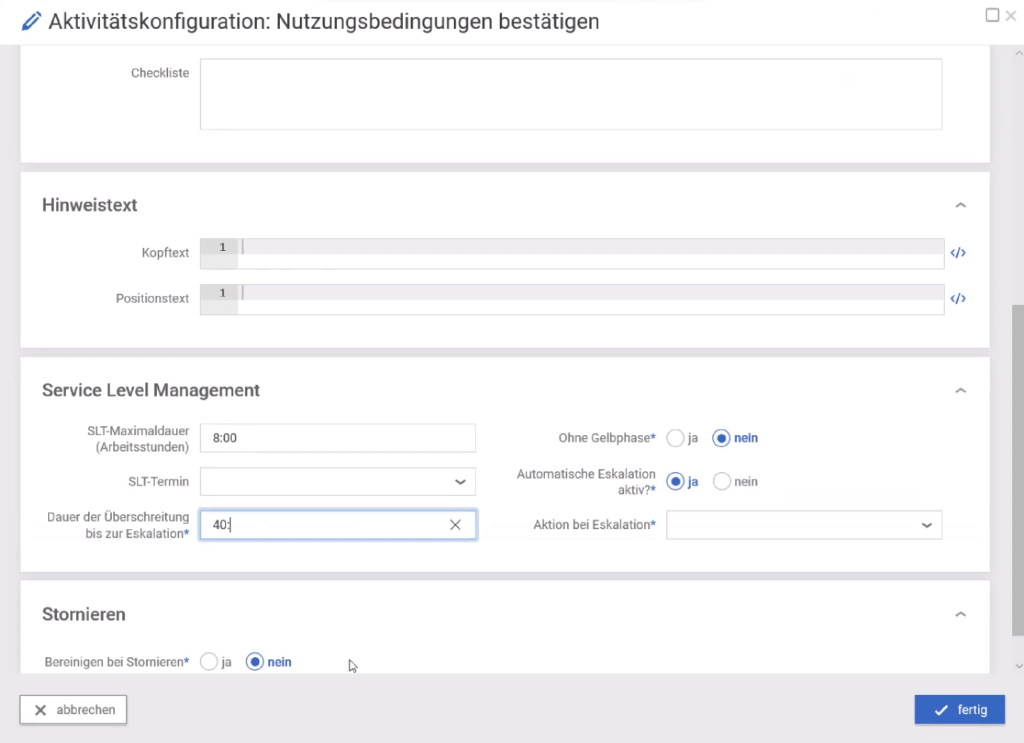 Servity Template fuer Aufgabensteuerung und SLA Vorgaben